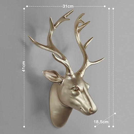 Sintética ciervos y cabra Head soporte de pared percha con ...