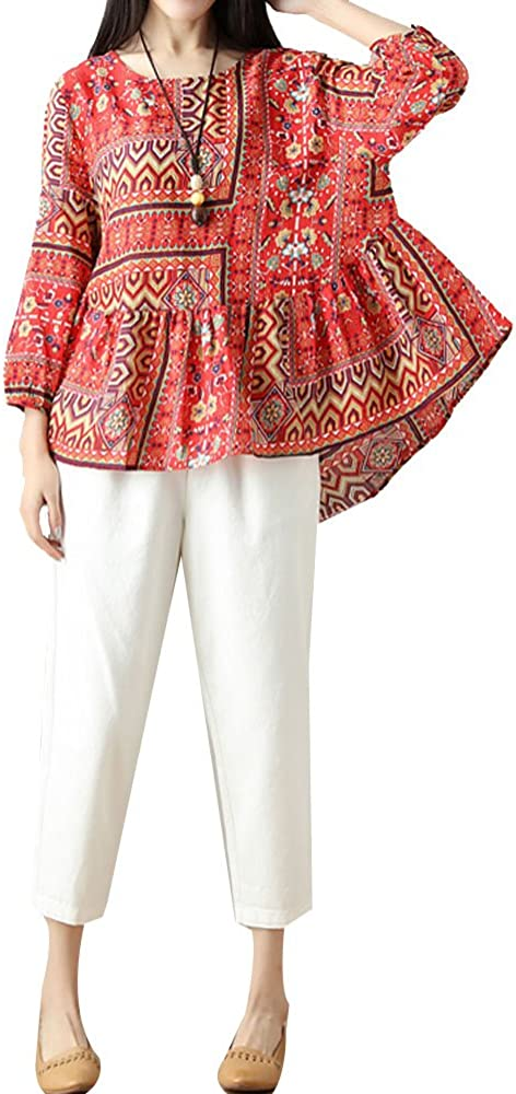 P Ammy Fashion Camisas - Camisa - Étnica - Manga Larga - Para Mujer Rojo Rosso 38/M: Amazon.es: Ropa y accesorios