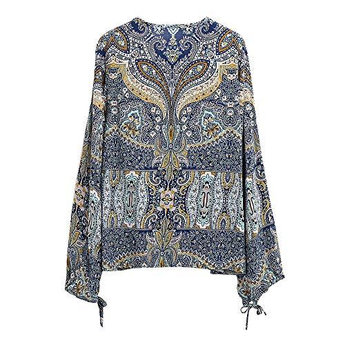 Para Bohemia Manga Estampado Mujer De Camisa Larga Sueltos Topkeal Azul Blusa Con zWxn7xwS