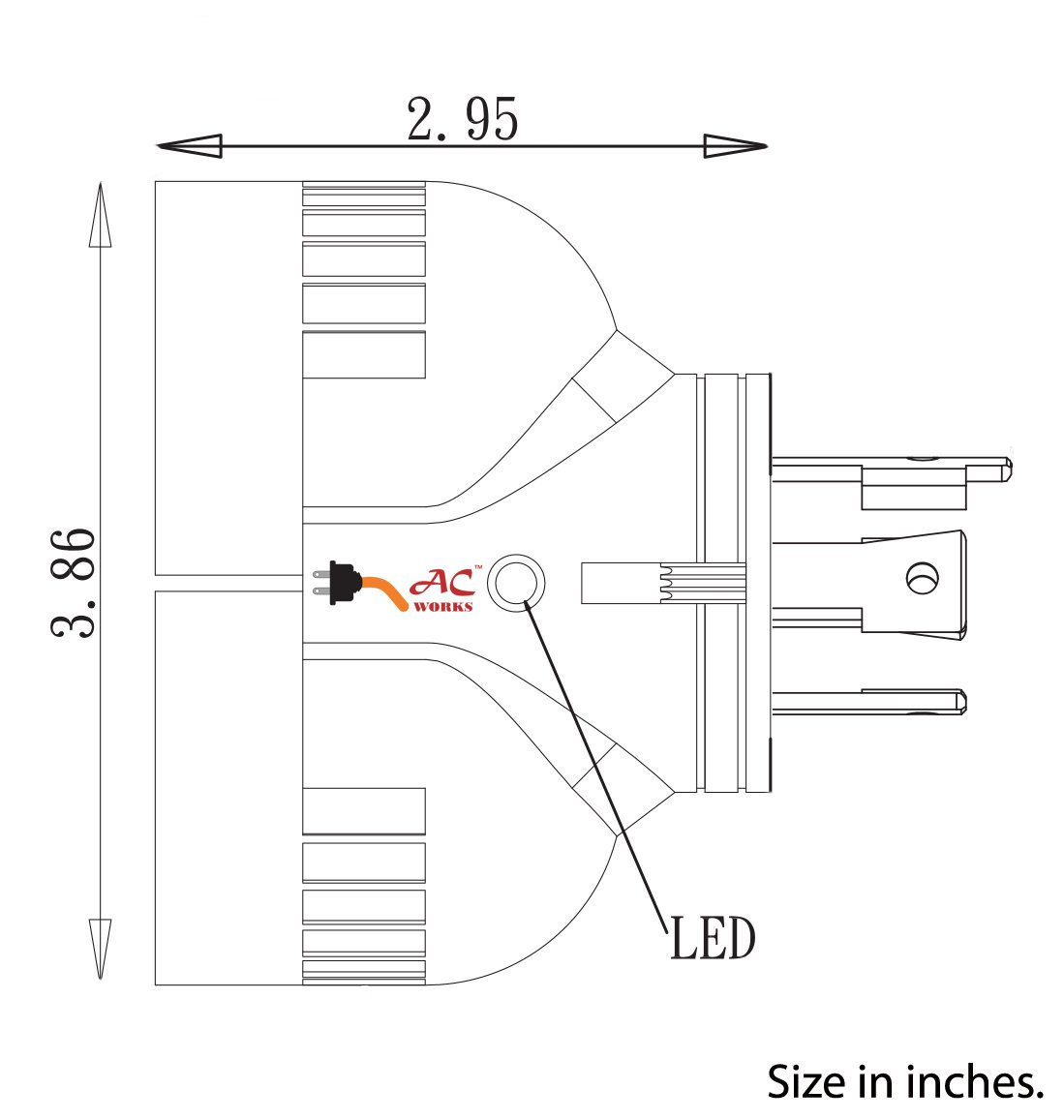 AC WORKS [ADVL1420520] Generator V-DUO Adapter NEMA L14-20P 20Amp 4-Prong Locking Plug to (2) 15/20Amp Household Connectors by AC WORKS (Image #5)