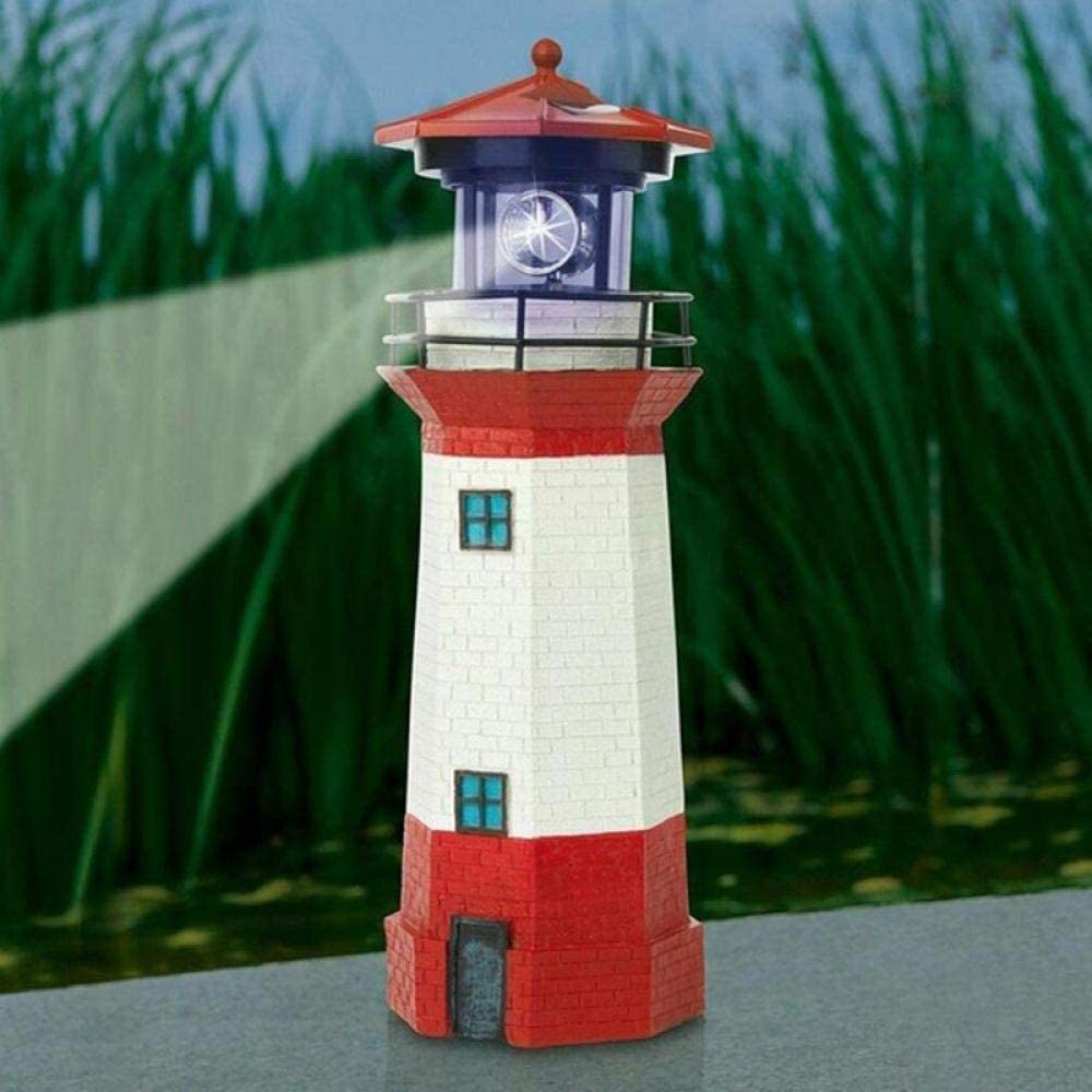 AdoDecor Solar Power LED Beacon Light Beam Lighthouse Solar Light Home Garden Decoration Fence Lawn Lamp Fairy Light 1ps