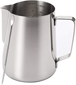 Nicunom Milk Frothing Pitcher 32oz Stainless Steel Steaming Pitcher with Decorating Art Pen, Milk Coffee Cappuccino Latte Art Barista Steam Pitchers Milk Jug Cup for Espresso Machines Latte Art