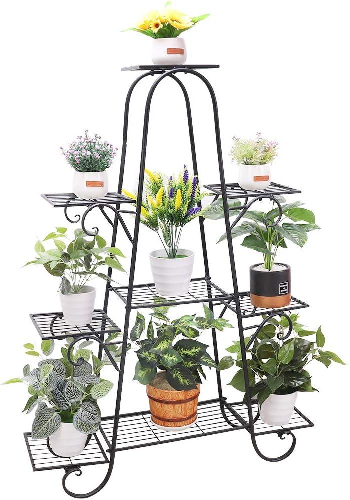 unho Estantería para Macetas Soporte de Hierro para Flores Estantería Decorativa Plantas Exterior Interior Jardín con 9 Estantes 90 x 22 x 121.5cm
