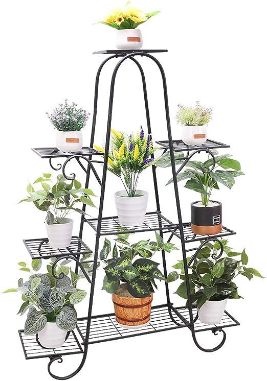 unho Estantería para Macetas Soporte de Hierro para Flores Estantería Decorativa Plantas Exterior Interior Jardín con 9 Estantes 90 x 22 x 121.5cm: Amazon.es: Jardín
