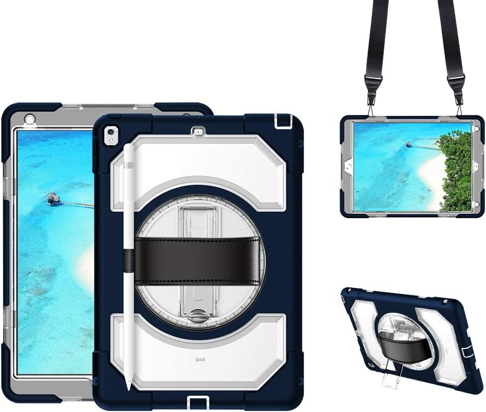 GROLEOA iPad Air 3/ iPad Pro 10.5 Case with Pencil Holder and Stand, Easy Carrying iPad 10 Inch Case with Leather Hand Strap, Shoulder Strap, Shockproof 360 Rotate Case for iPad Air 3(Clear+Navy Blue)