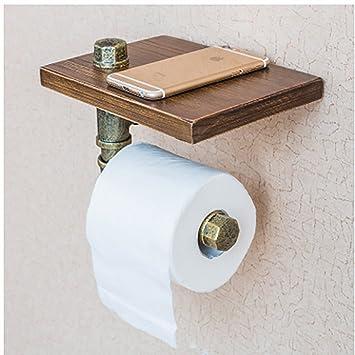 Estantería de pared Estantes de tubería de hierro forjado estante de toalla de baño estante de almacenamiento ...