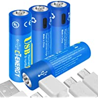 CT Energy USB Rechargeable AA Batteries 1.5V/1600mAh Lithium ion Battery with 1.5 Hours Quick Charging Micro-USB Port Li-ion Double A Batteries (4 Packs)