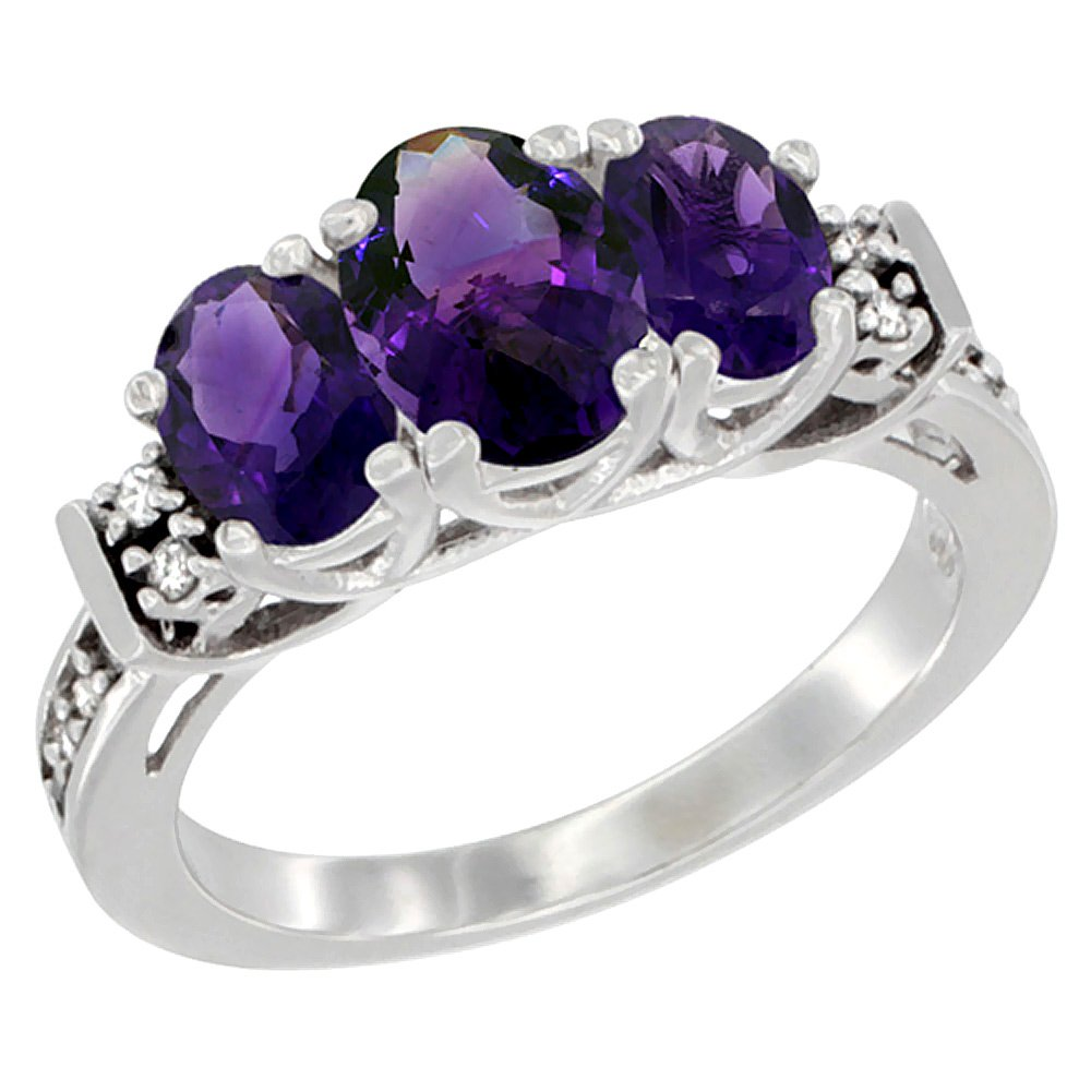 10K White Gold Natural Amethyst Ring 3-Stone Oval Diamond Accent, size 7