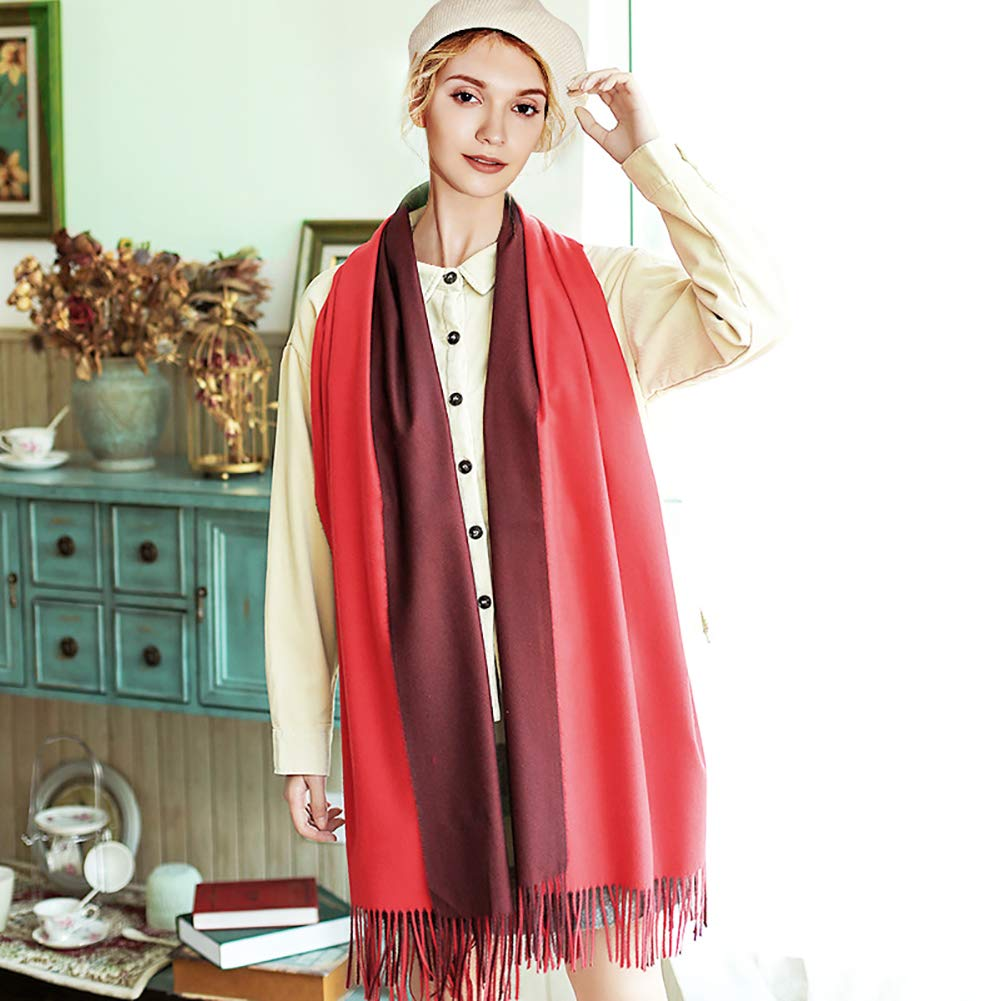 Hogoo Double Sided Scarf Print Solid Color Tassel Shawl for Women Teen Girls