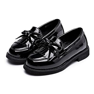 fc0b09ed1a52 CYBLING Kids Girls Patent Leather Spring Slip On Flat Oxfords Shoes Fringe  Low Heel Penny Loafers