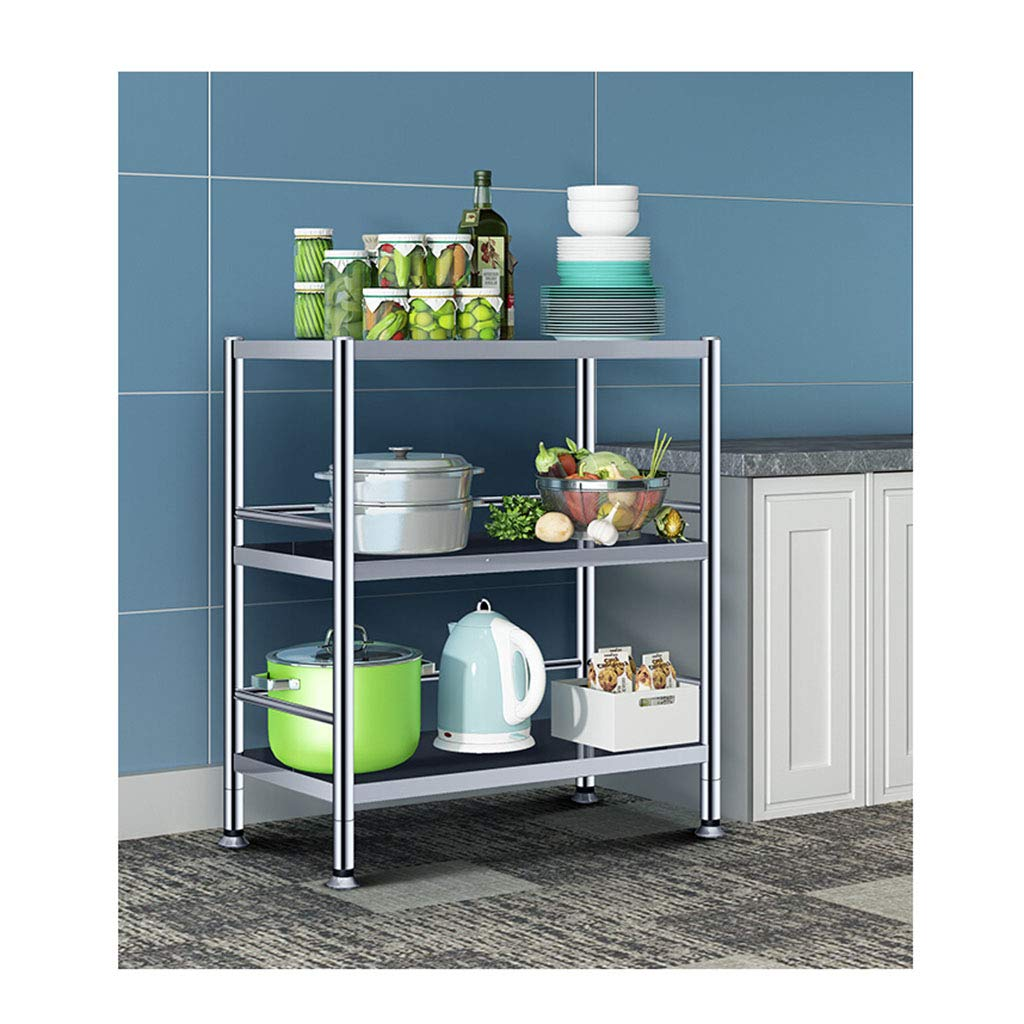Width-70 Kitchen Storage Shelf Widened Kitchen Bathroom Bedroom Living Room Rack Stainless Steel Three-Layer Storage Rack Microwave Oven Rack Organisation (Size   Width-90)