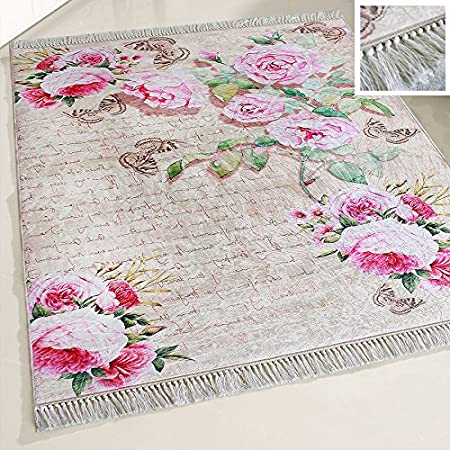Mynes Home Tapis Lavable Motif Fleurs Et Fleurs Style Shabby Chic