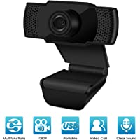 1080P Webcam, HD 1080P Webcam with Microphone, PC Webcam, Auto Focus Web Camera for Video Conferencing Online Work Home Office YouTube Recording and Gaming USB Plug & Play