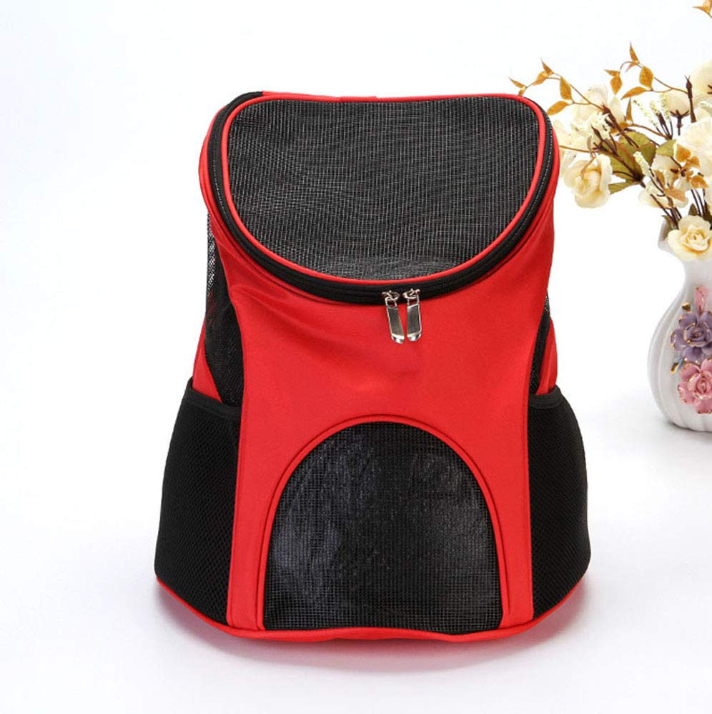 Pet Carrier Backpack Breathable Cat Shoulder Backpack Handle Carry Bag Puppy Small Dog Potable Travel Bag (Red) kaling
