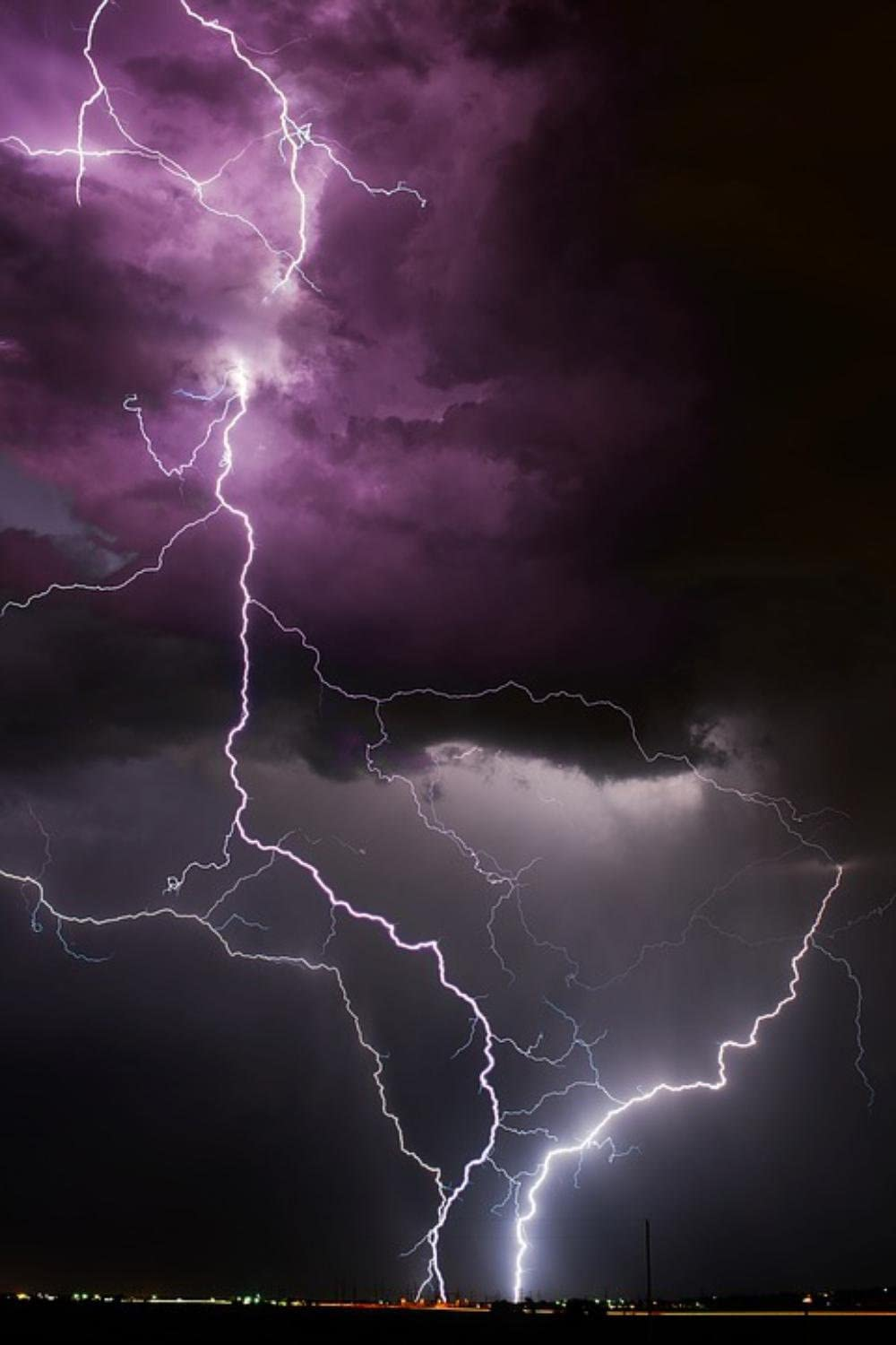 Gifts Delight Laminated 24x36 inches Poster: Colorado Storm Lightning Weather Thunderstorm Night Nighttime Evening Strike Electrical Nature Outdoors Sky Cloud Rain