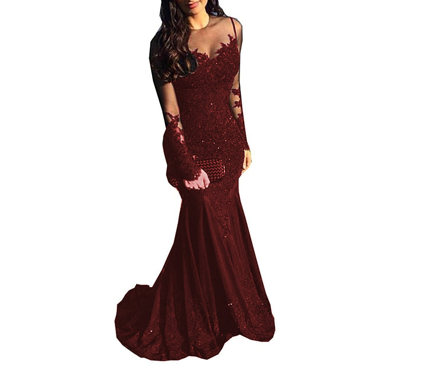 1347c46512ea XingMeng Lace Mermaid Prom Dresses 2019 Beaded Long Sleeve Formal Wedding Evening  Dress Party Gown Burgundy Size 10