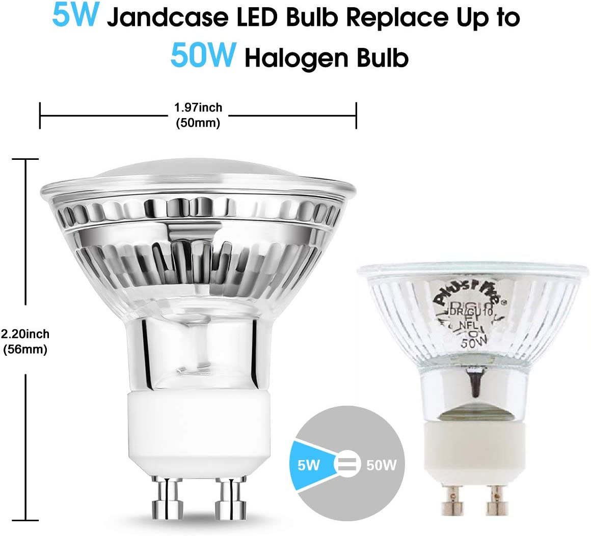 120/° Beam Angle Recessed Lighting 12 Pack 50W Equivalent 550LM 5000K Daylight White Dimmable Ideal for Track Lights JandCase GU10 LED Bulbs 5W Spotlight