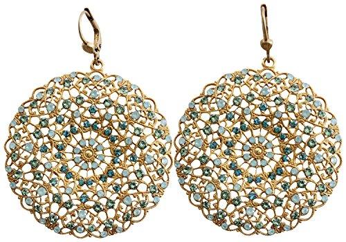 Catherine Popesco Goldtone Filigree Round Large Lace Medallion Earrings, Pacific Blue 9702BG -