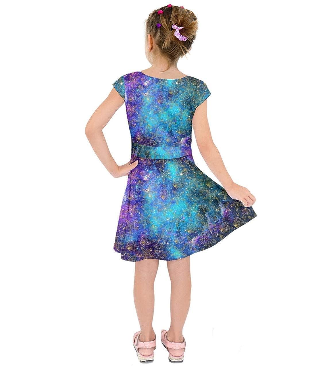 f9c4506a7a809 Amazon.com: PattyCandy Girls Celestial Sky Galaxy Art Starry Night Designs  Casual Short Sleeve Dress, Size:2-16: Clothing