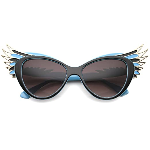 7efa21c116513 Women s Elegant High Fashion Winged Temple Cat Eye Sunglasses 54mm  (Blue-Gold Lavender