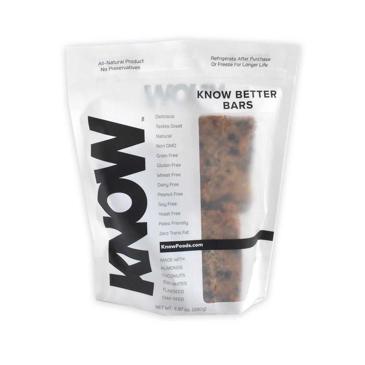 KNOW Foods Gluten Free Protein Bars, Low Carb, Paleo + Keto Friendly - 4 Count