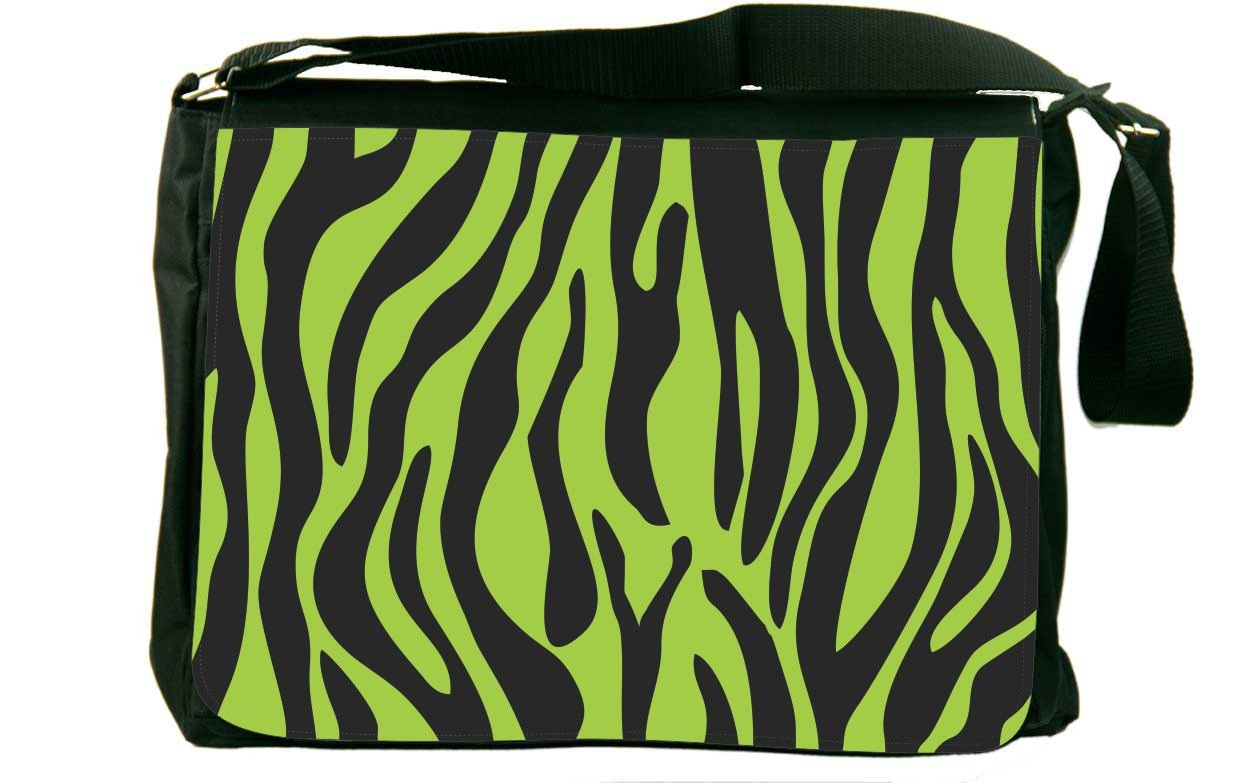 Rikki Knight Zebra Design on Lime Green Messenger Bag School Bag