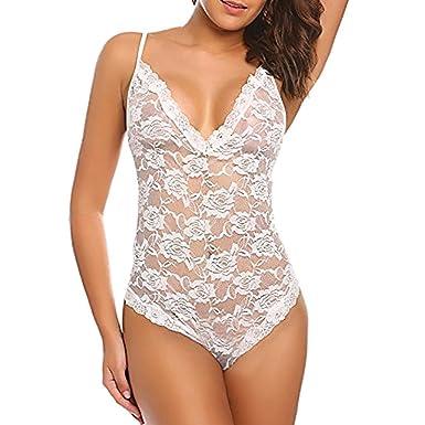 d16e5bcd89ba4 Femmes Dentelle Lingerie Babydoll Sexy Nuisette Robe Siamois Body sous-vêtements  Lingerie Babydoll sous-vêtements Lace Coat G-String Vêtements de Nuit: ...