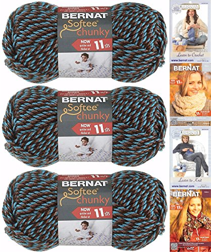 Bernat Softee Chunky Yarn Bundle Super Bulky #6, 3 Skeins Teal Twists - Yarn Free Knitting Chunky Patterns