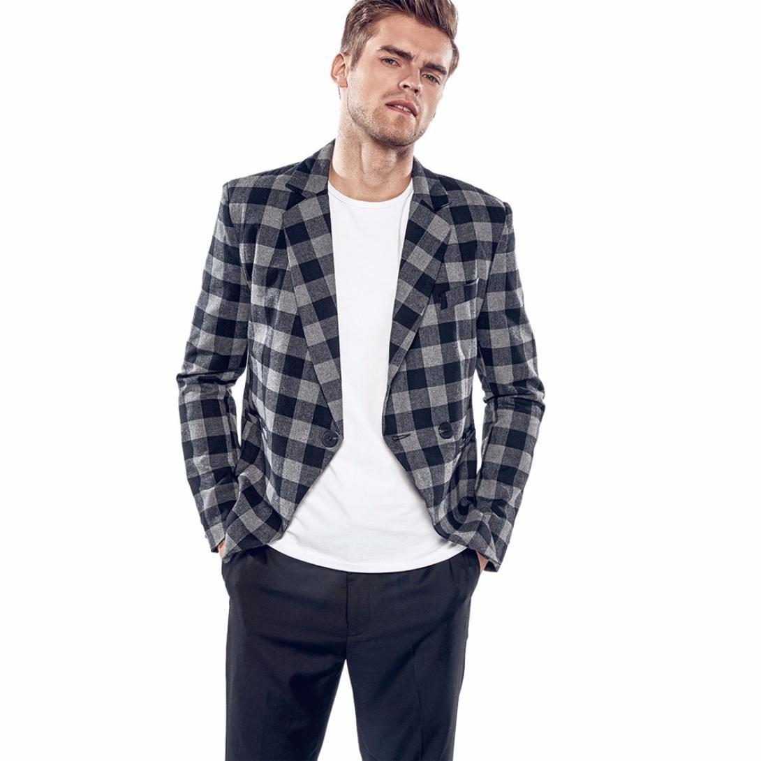 Chaqueta de hombre, Xinan Ropa informal delgada de los hombres del encanto Traje de chaqueta con un botón Tapas de la chaqueta de celosía Xinantime_3439
