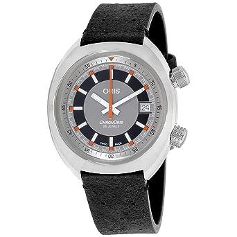383977583 Oris Chronoris Grey Dial Leather Strap Men's Watch 73377374053LSBLK