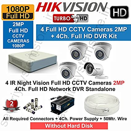 827884f7743 Buy Core Hikvision Full HD 4 CCTV Cameras (2Mp) With Full HD 4Ch. DVR Kit  With All Accessories Online at Low Price in India