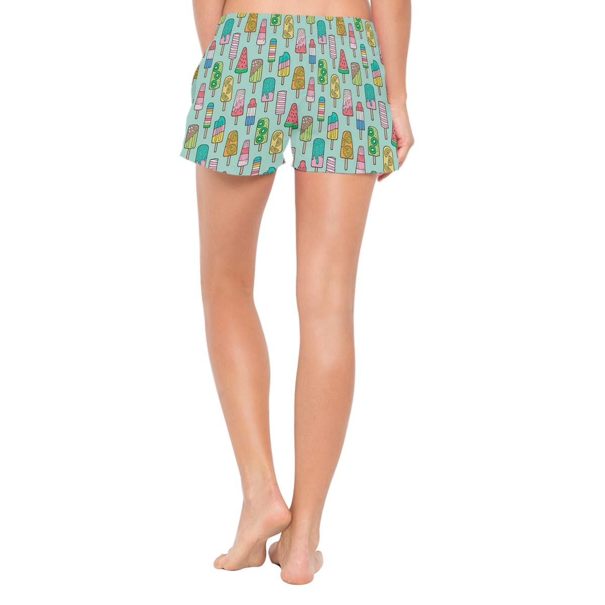 Womens Swim Trunks Summer 3D Print Popsicle Colorful Summer Ice Cream Casual Athletic Swimming Short