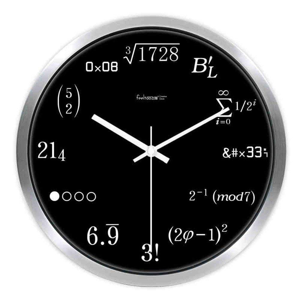 CWJ Clock- Wall Clock Metal Simple Personality Quiet Clock Modern Living Room Quality Creative Mathematical Clocks and Watches Fashion Circular Ultra-Quiet Home Wall Clock Wall Decoration Artwork,14