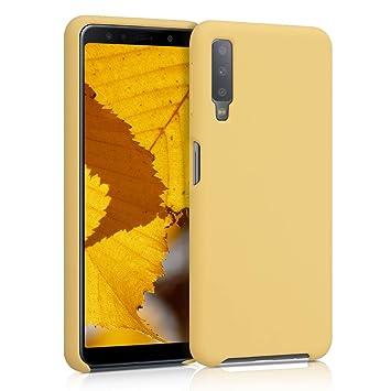kwmobile Funda para Samsung Galaxy A7 (2018) - Carcasa de TPU para teléfono móvil - Cover Trasero en Amarillo Pastel Mate