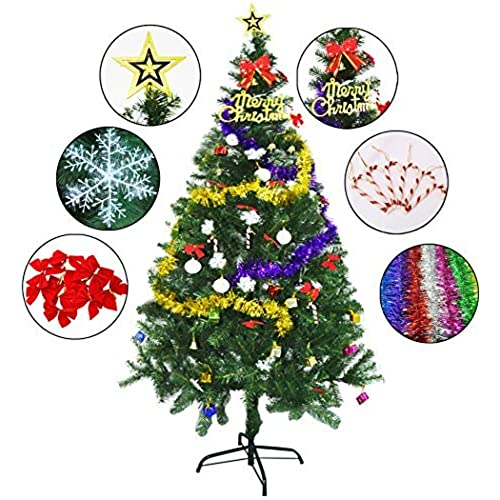 6 ft artificial christmas tree with 24 beautiful ornaments included by outgeek eye catching hassle free setup and storage eco friendly recyclable - Artificial Christmas Trees Amazon