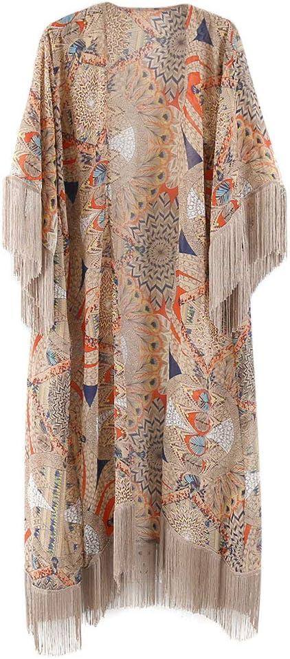JAGETRADE Womens Summer Half Sleeve Chiffon Cardigan Boho Retro Geométrico Floral Impreso con Flecos Borlas Patchwork Bikini Cubrir hasta el Tobillo Kimono Cabo