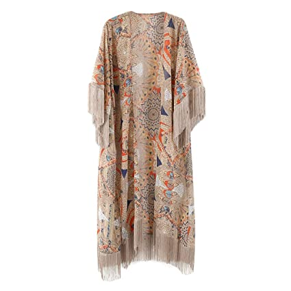 fce7294a45 RingBuu Swimsuit Cover Up - Women Summer Half Sleeve Chiffon Cardigan Boho  Retro Geometric Floral Printed