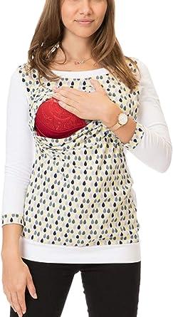 Yacun Maternidad Lactancia Camiseta para Mujer 3/4 Manga Floral Enfermería Blusa: Amazon.es: Ropa y accesorios