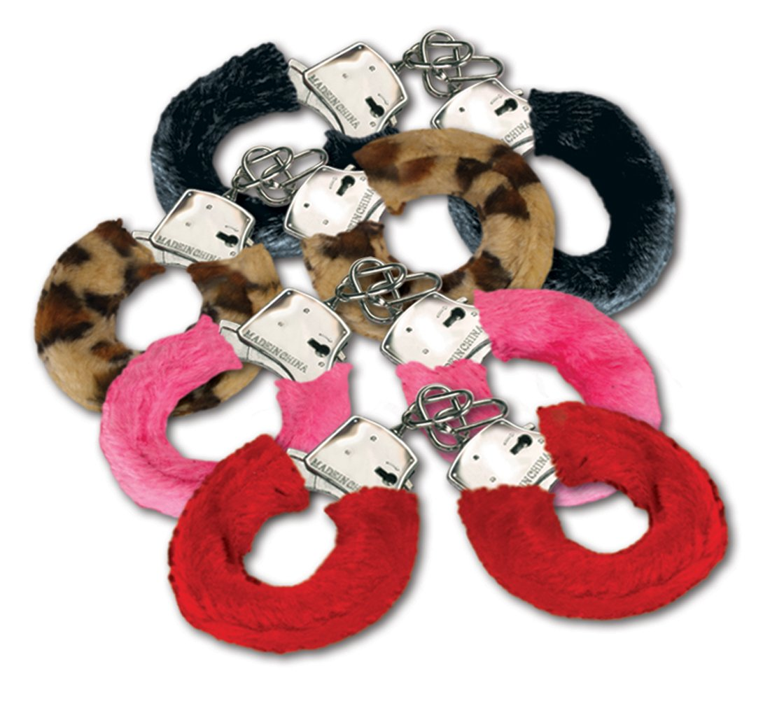 Joker Fuzzy Furry Metal Real Working Handcuffs W Keys - Assorted Color