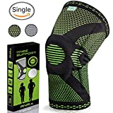Knee Brace Compression Sleeve for Running, Weightlifting, Powerlifting, Basketball, Volleyball - Knee Support for Meniscus Tear, Arthritis, Crossfit - Patella Stabilizer for Men and Women - Black, XL
