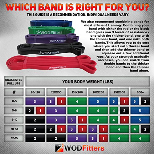 WODFitters Assisted Pull-Up Band, Resistance & Stretch Band - Mobility Band - Powerlifting Bands - Extra Durable and Top Rated Pull-Up Assist Bands - with eGuide - SINGLE BAND - PURPLE