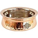 IndianArtVilla Hammered Steel Copper Handi Bowl, Serving Indian Dishes Tableware, 300 ML