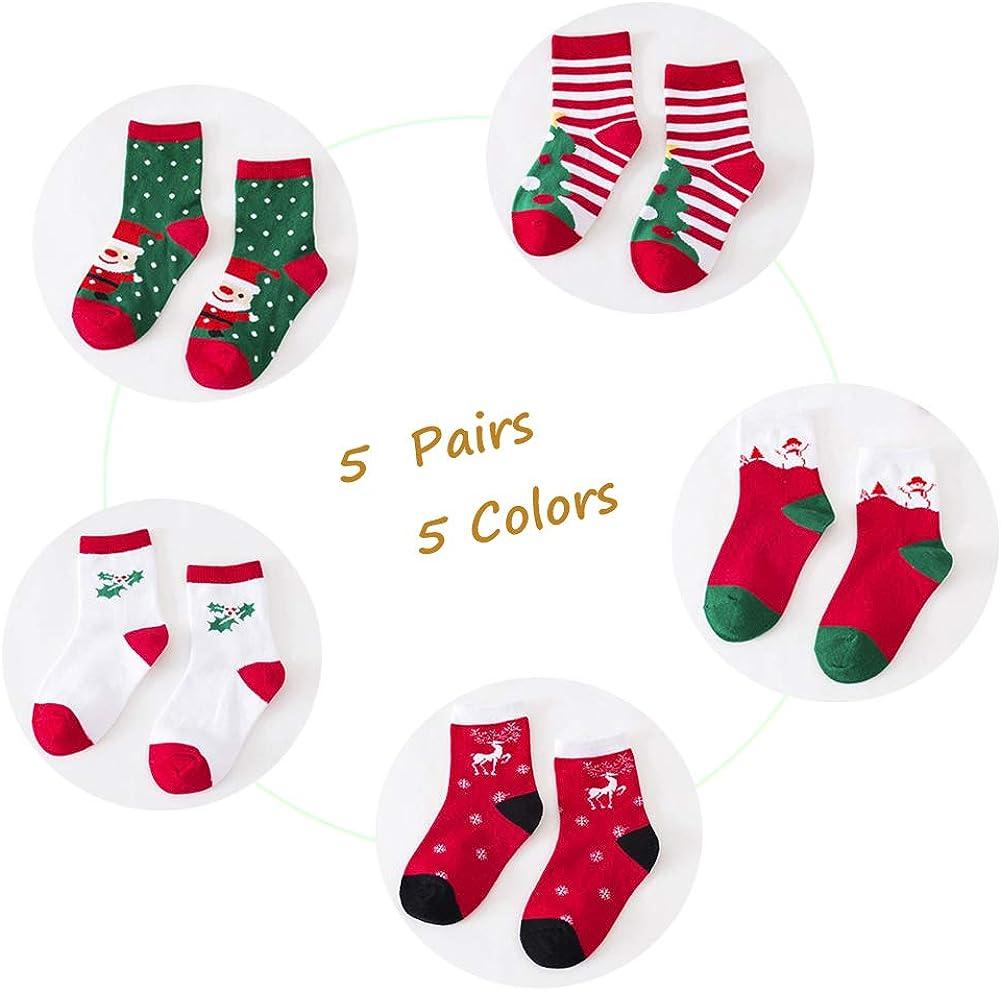 Girl Cotton Crew Seamless Socks 5 Pairs Kids Girls Socks Toddler Socks Unisex Children Socks for Baby,Kid,Boy