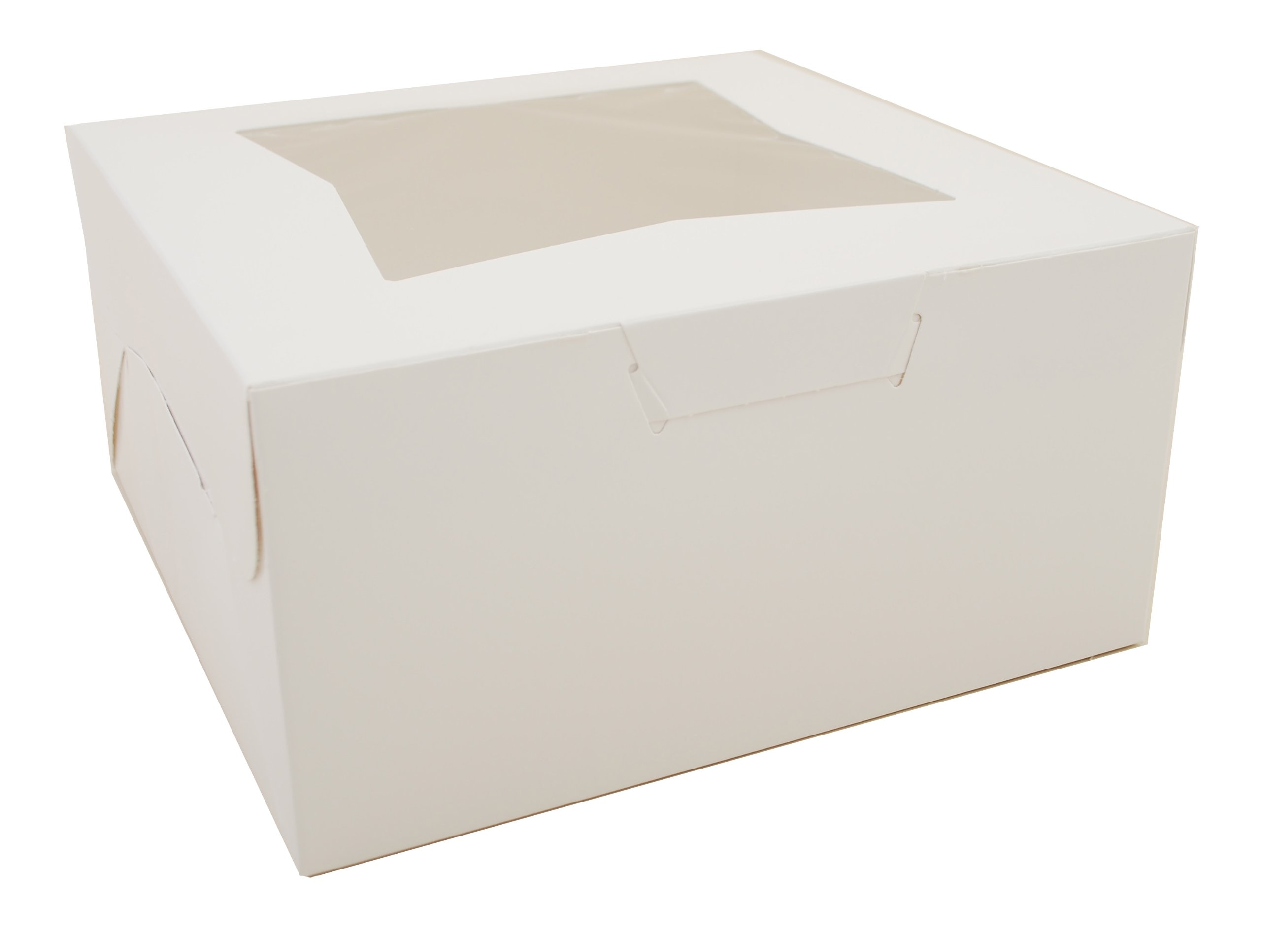 Southern Champion Tray 23053 Paperboard White Lock Corner Window Bakery Box, 10'' Length x 10'' Width x 5'' Height (Case of 150)