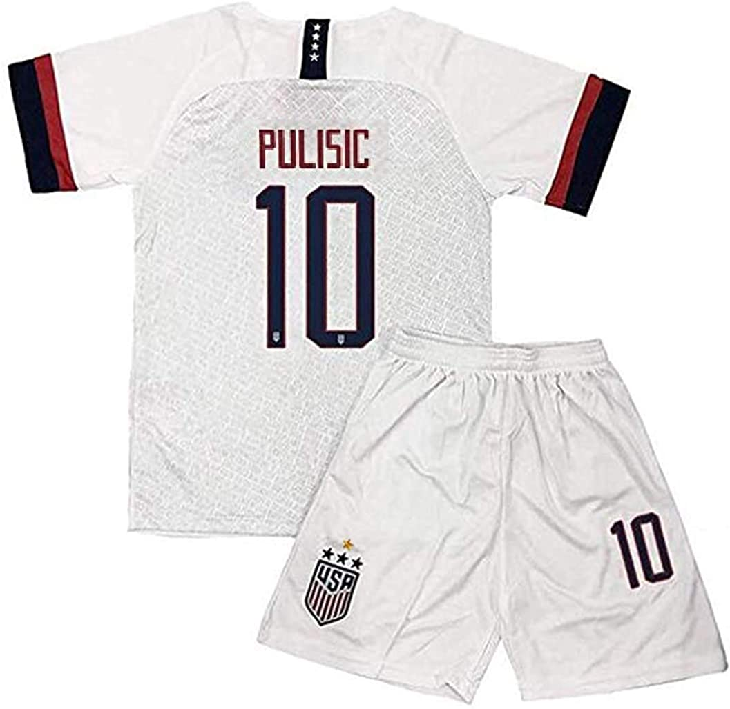 LaiSHY 2019/2020 New USA Home 4 Star Soccer Jersey #10 Pulisic Kids/Youths Soccer Jersey & Shorts (6-13years)