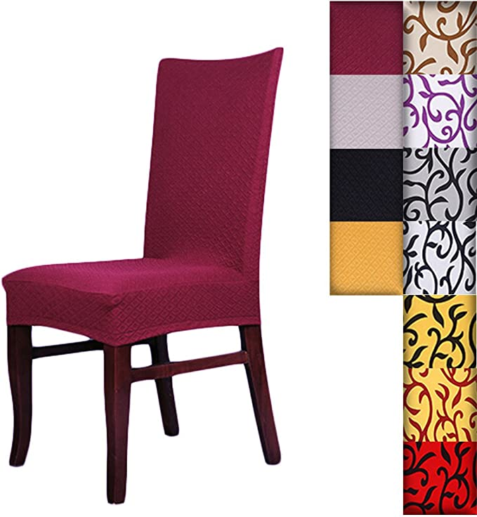 SHZONS™Super Fit Stretch Removable Washable Short Dining Chair Cover Protector Seat Slipcover for Hotel,Dining Room,Ceremony,etc.(WineRed)