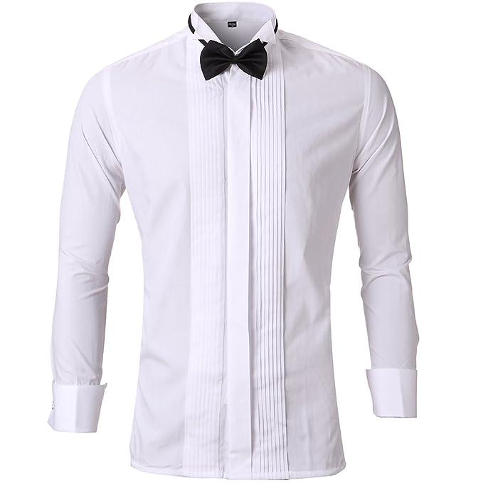 Camisa de traje con gemelos cuello opera, para fiesta formal, reunión, ceremonia, etc.