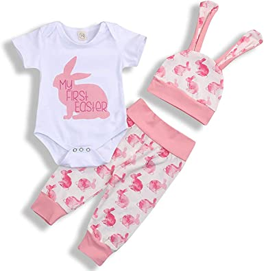 New Newborn Infant Baby Girls Bunny Romper Bodysuit Jumpsuit Set Clothes Outfit