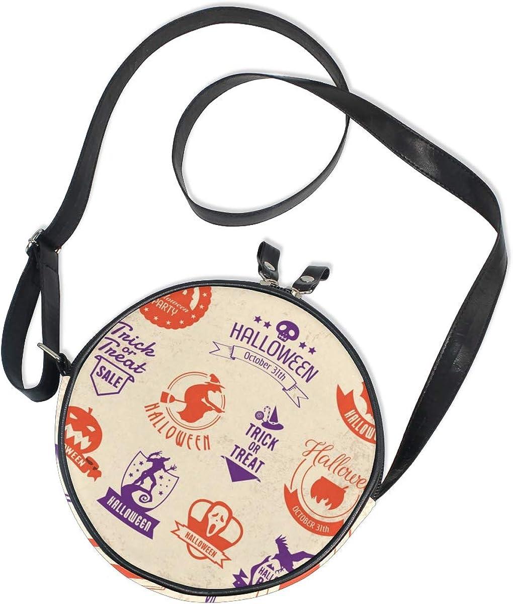KEAKIA Halloween Set Round Crossbody Bag Shoulder Sling Bag Handbag Purse Satchel Shoulder Bag for Kids Women