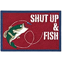 C&F Home Hooked Gibson Lake Fishing Rug, Red